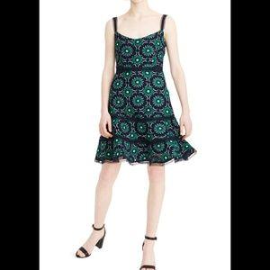 J Crew Green/Navy Graphic Aline Lace Minidress 16
